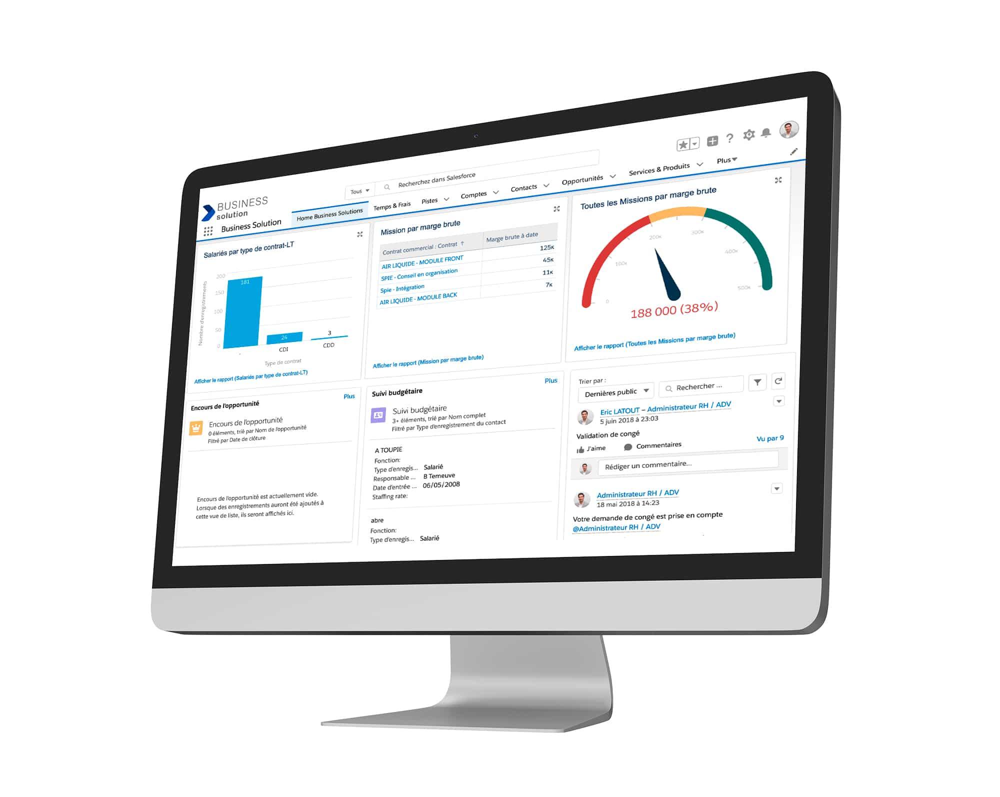 mockup sur desktop du back office de l'application pilotage et rentabilité